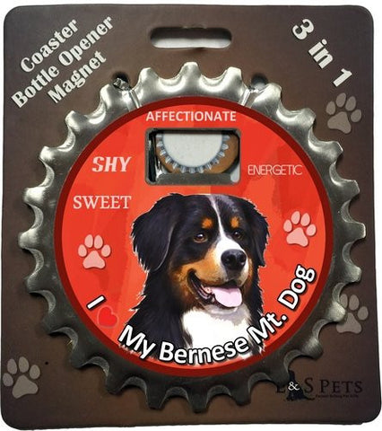 Bernese Mountain Dog Bottle Ninja Stainless Steel Opener Magnet