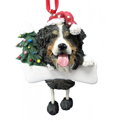 Dangling Leg Bernese Mountain Dog Christmas Ornament
