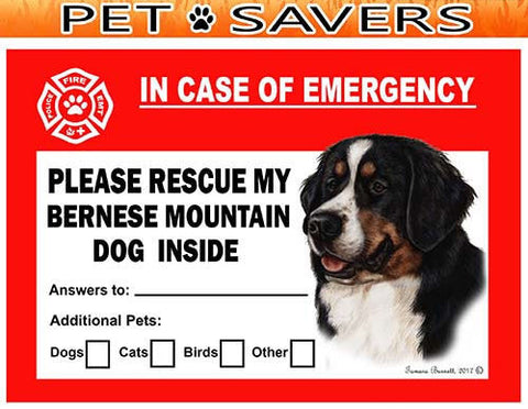 Bernese Mountain Dog Emergency Window Cling