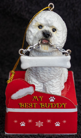 Bichon Frise Statue Best Buddy Christmas Ornament