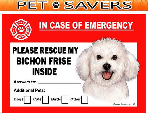 Bichon Frise Dog Emergency Window Cling