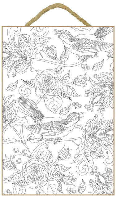 Birds and Roses Wood Coloring Sign