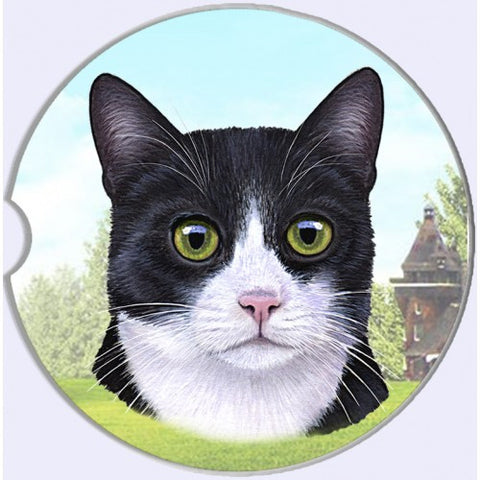 Black and White Tuxedo Cat Sandstone Absorbent Dog Breed Car Coaster