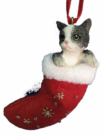 Santa's Little Pals Black and White Cat Christmas Ornament