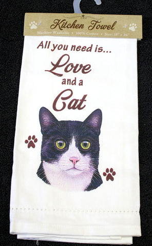 Black and White Cat Dish Towel