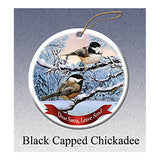 Black Capped Chickadee Howliday Bird Christmas Ornament