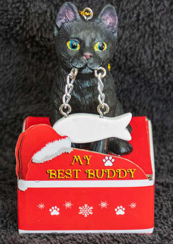 Black Cat Statue Best Buddy Christmas Ornament