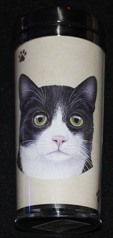 Black and White Cat Stainless Steel Travel Tumbler