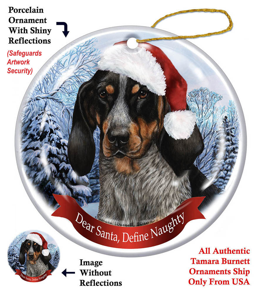 Blue Tick Coonhound Howliday Dog Christmas Ornament