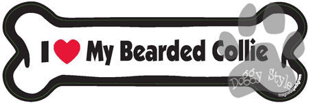 I Love My Bearded Collie Dog Bone Magnet