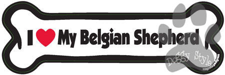 I Love My Belgian Shepherd Dog Bone Magnet