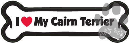 I Love My Cairn Terrier Dog Bone Magnet