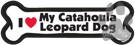 I Love My Catahoula Leopard Dog Bone Magnet