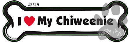 I Love My Chiweenie Dog Bone Magnet