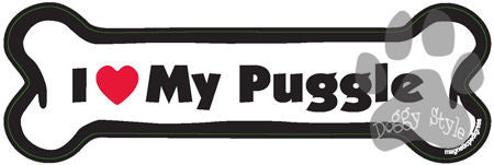 I Love My Puggle Dog Bone Magnet