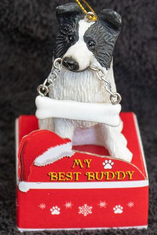 Border Collie Statue Best Buddy Christmas Ornament