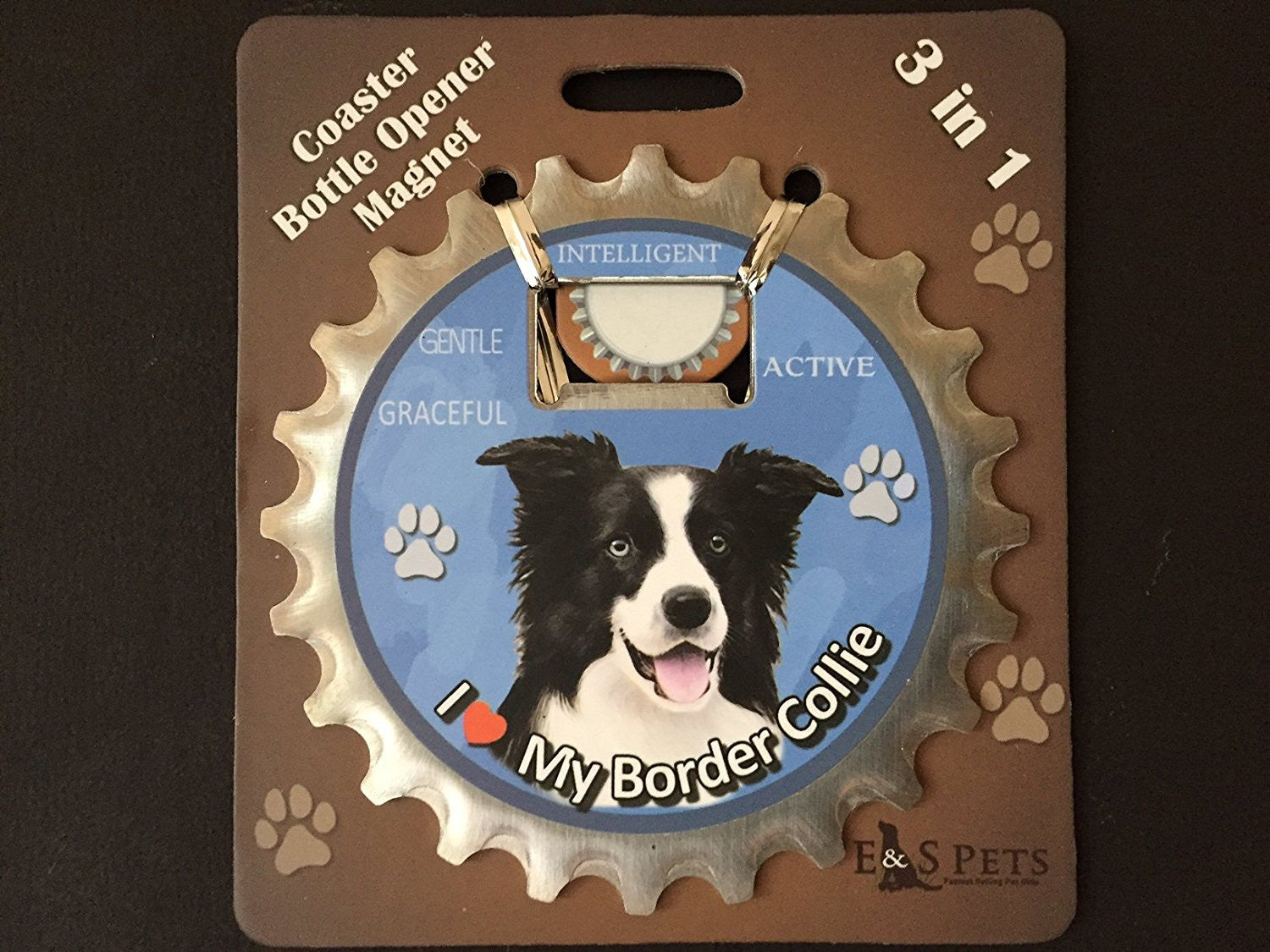 Border Collie Dog Bottle Ninja Stainless Steel Opener Magnet