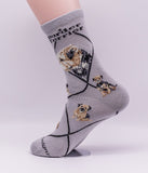 Border Terrier Dog Breed Novelty Socks Gray