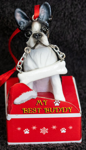 Boston Terrier Statue Best Buddy Christmas Ornament