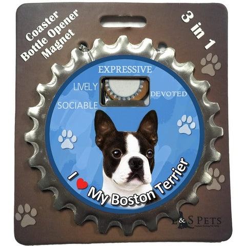 Boston Terrier Dog Bottle Ninja Stainless Steel Opener Magnet