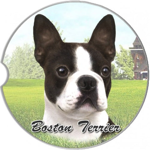 Boston Terrier Sandstone Absorbent Dog Breed Car Coaster