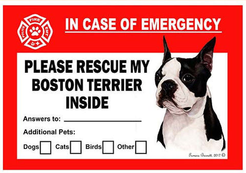 Boston Terrier Dog Emergency Window Cling
