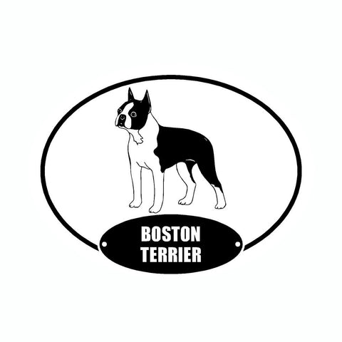 Boston Terrier Euro Vinyl Dog Car Sticker