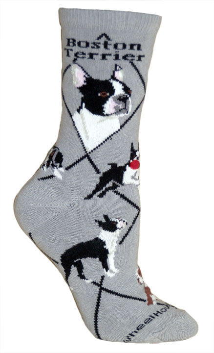 Boston Terrier Dog Breed Gray Lightweight Stretch Cotton Adult Novelty Socks
