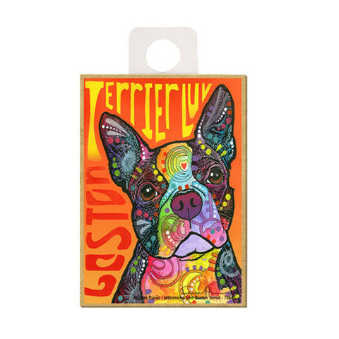 Boston Terrier Luv Dean Russo Wood Dog Magnet