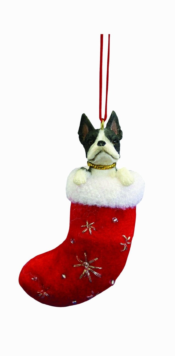 Santa's Little Pals Boston Terrier Christmas Ornament