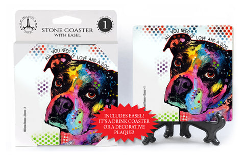 Boxer All You Need Is Love And A Dog Dean Russo Drink Coaster