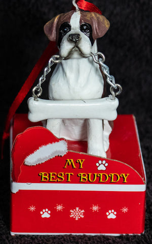 Boxer Uncropped Statue Best Buddy Christmas Ornament