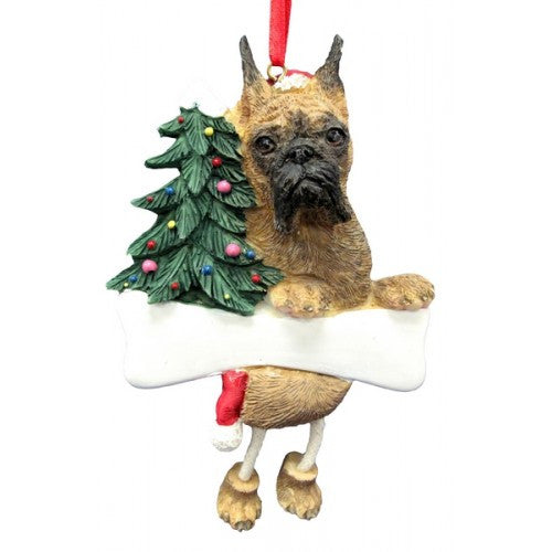 Dangling Leg Boxer Brindle Cropped Christmas Ornament