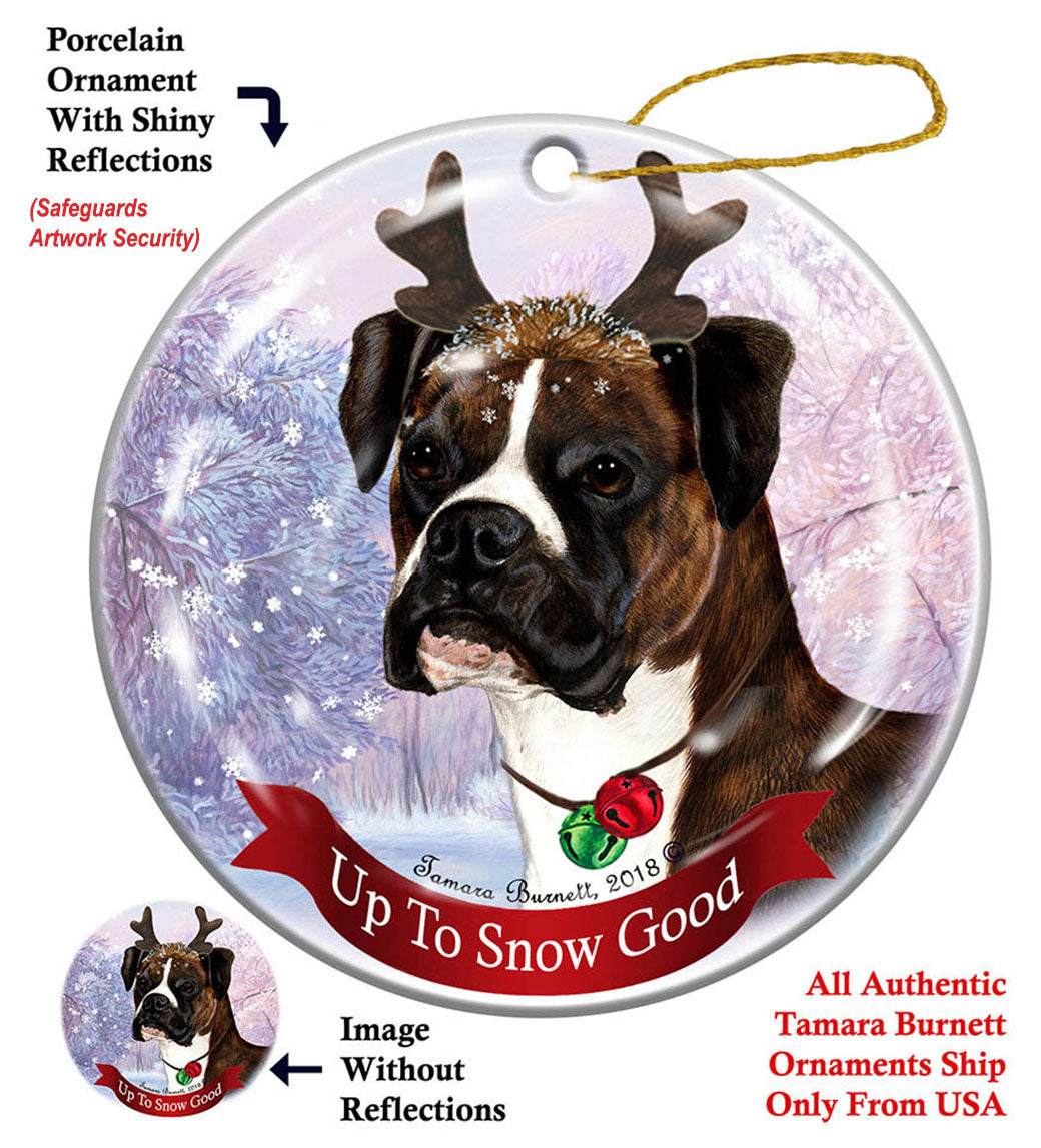 Boxer Brindle Uncropped Howliday Dog Christmas Ornament ...