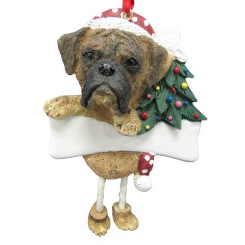 Dangling Leg Boxer Brindle Uncropped Christmas Ornament