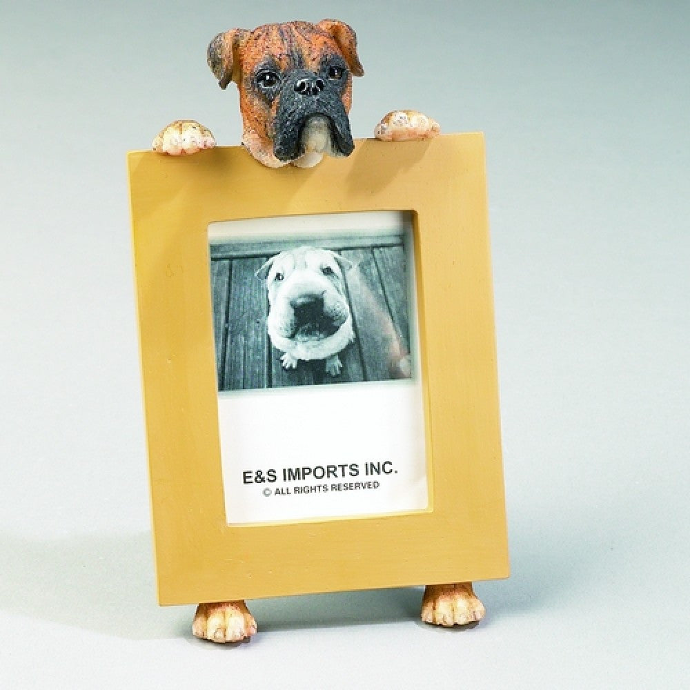 Boxer Brindle Uncropped Dog Picture Frame Holder