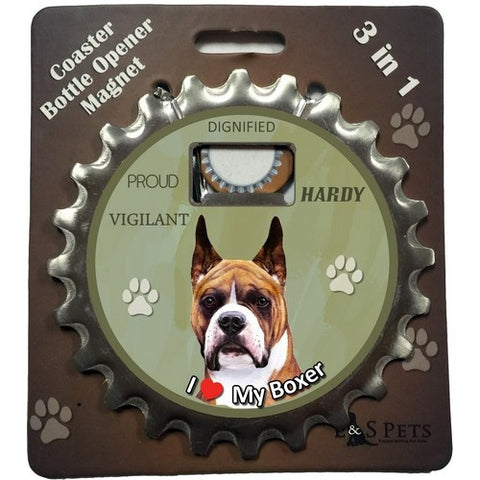 Boxer Cropped Dog Bottle Ninja Stainless Steel Opener Magnet