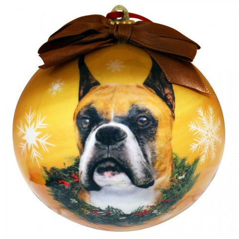 Boxer Cropped Shatterproof Dog Christmas Ornament