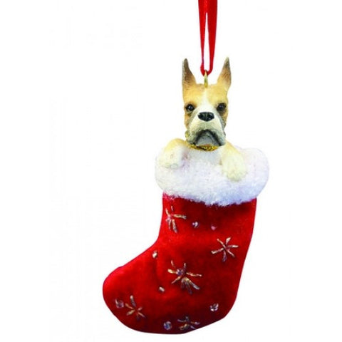 Santa's Little Pals Boxer Cropped Christmas Ornament