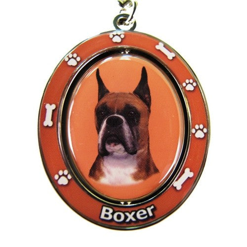 Boxer Cropped Dog Spinning Keychain