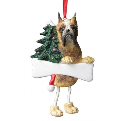 Dangling Leg Boxer Fawn Cropped Christmas Ornament