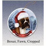 Boxer Fawn Cropped Howliday Dog Christmas Ornament