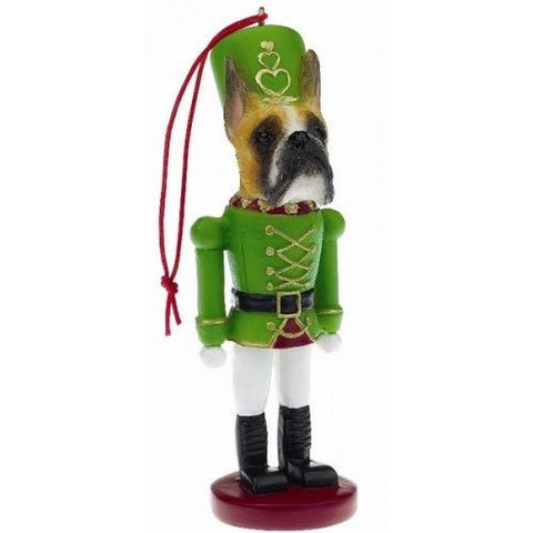 Boxer Cropped Dog Toy Soldier Ornament