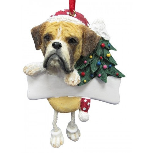 Dangling Leg Boxer Fawn Uncropped Christmas Ornament