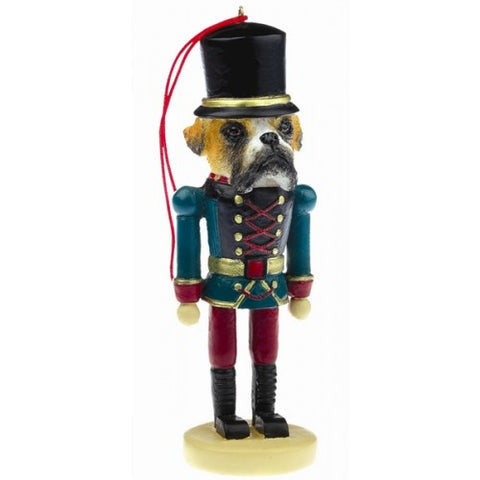 Boxer Uncropped Dog Toy Soldier Ornament