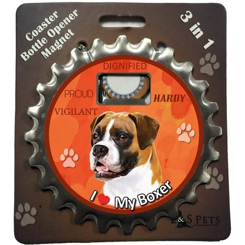 Boxer Uncropped Dog Bottle Ninja Stainless Steel Opener Magnet