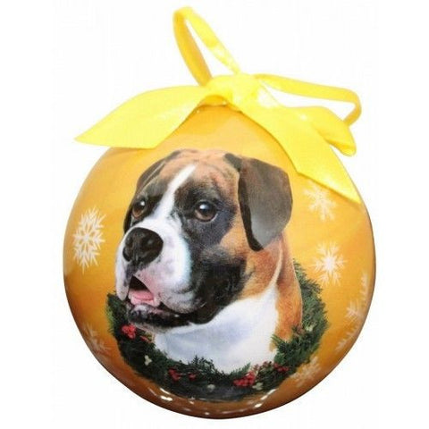 Boxer Uncropped Shatterproof Dog Breed Christmas Ornament