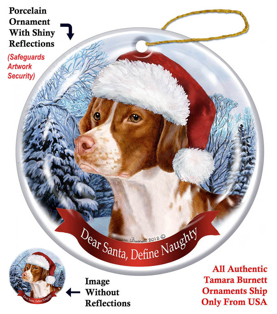 Brittany Spaniel Howliday Dog Christmas Ornament