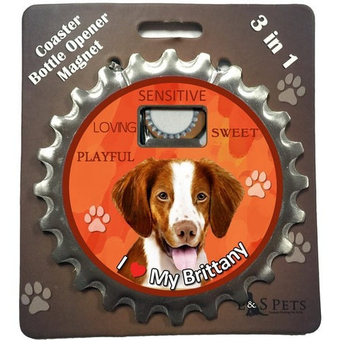 Brittany Spaniel Dog Bottle Ninja Stainless Steel Opener Magnet
