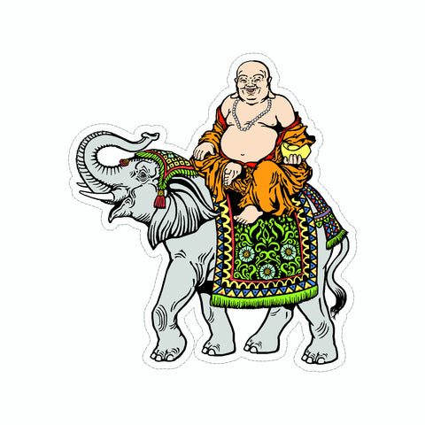 Buddha Riding Elephant Vinyl Car Sticker